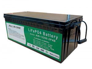 Tout en un 2.56KWh 2000 cycles batterie 12v lifepo4 200ah pack au lithium pour véhicule électrique
