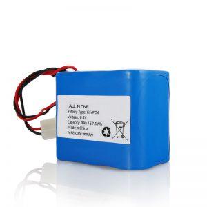 6.4V 12Ah LiFePO4 Recharge Lithium 26650 32650 Pack de batteries avec connecteur pour lumière solaire